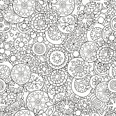 Seamless Pattern For Coloring Book Christmas Hand Drawn Decorative Elements In Vector Fancy