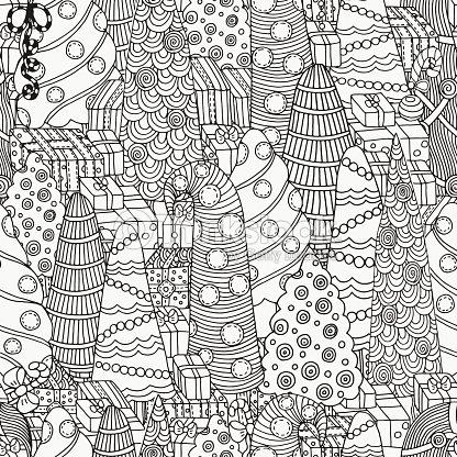 Patrón Sin Costuras De Navidad Para Colorear Libro De árboles Arte ...