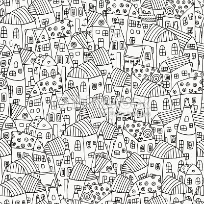 Seamless Pattern For Coloring Book With Artistically Houses Magic City Vector Art