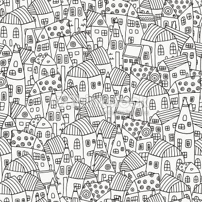 Patrón Sin Costuras De Libro Para Colorear Con Casas De Forma ...