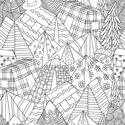 Seamless Pattern for coloring book with tents, mountains, parking of tourists. Camping illustration, Outdoor recreation, Hiking,