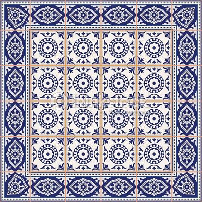 nahtlose muster von fliesen und rand marokkanische portugiesisch azulejo ornamenten vektorgrafik. Black Bedroom Furniture Sets. Home Design Ideas