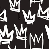 Vector tags seamless pattern. Fashion black and white graffiti hand drawing design texture in hip hop street art style for t-shirt skateboard textile