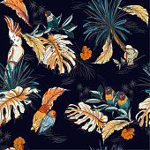 Seamless pattern hand drawn sketch tropical  with exotic parrot birds in vector Design for fashion ,fabic,web,wallpaper,and all prints on navy blue background color
