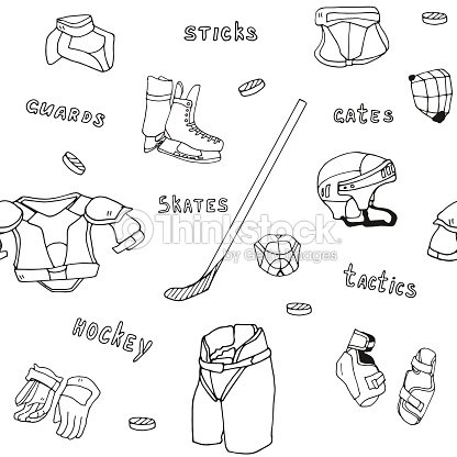seamless pattern icehockey equipment sport icon vector handdrawn illustration vector art. Black Bedroom Furniture Sets. Home Design Ideas