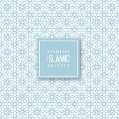 Seamless pattern in islamic traditional style. Blue and white colors. Vector illustration.