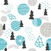 Seamless pattern in modern Scandinavian style. Vector background of north nature.
