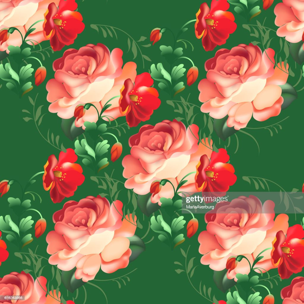 Seamless pattern in russian traditional style. : Vector Art