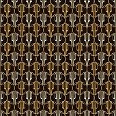 Seamless pattern Lira. Golden and black background.