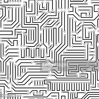 Seamless Pattern Of A Black Circuit Board Vector Art
