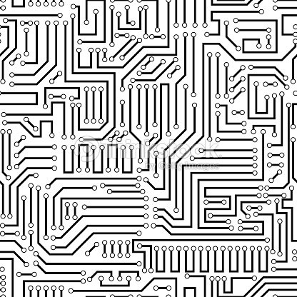 Seamless Pattern Of A Black Circuit Board stock vector