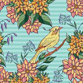 seamless pattern of colorful bird sitting on a branch in flowers