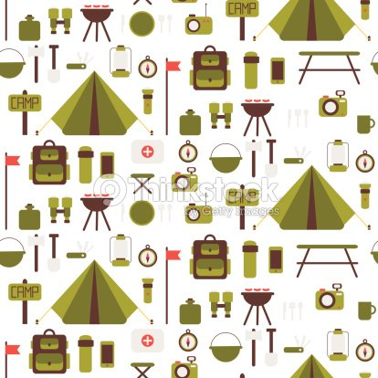 Seamless Pattern Of Flat Vector Camping Equipment Symbols And Icons Art