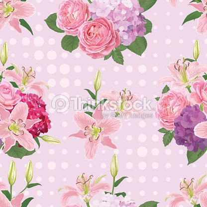 Seamless pattern of flowers, lily, rose and hydrangea with dot in the background.