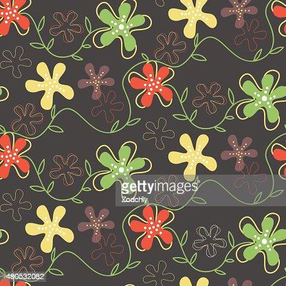 Seamless pattern of hand drawn summer flowers : Vektorgrafik