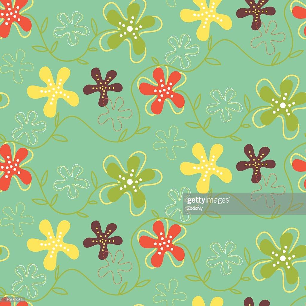 Seamless pattern of hand drawn summer flowers : Vector Art