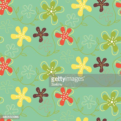 Seamless pattern of hand drawn summer flowers : Vector Art