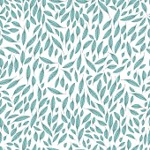 Seamless pattern of leaves. Leaves are light blue with lines of veins. Base white.