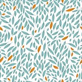 Seamless pattern of leaves. Leaves are light blue and yellow lines with streaks. Base white.