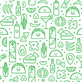 Seamless iconic pattern of Mexican cuisine with typical traditional food and drink, like taco, burrito and vegetables. Fun modern line art background.