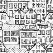 vector illustration of a seamless pattern of scribbled houses in black and white