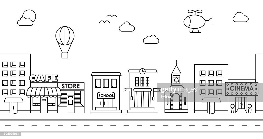 Seamless pattern of the buildings : Vector Art
