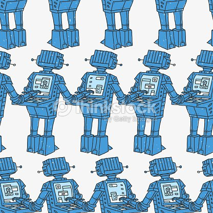 Seamless Pattern Robots And Personal Computer Vector Art