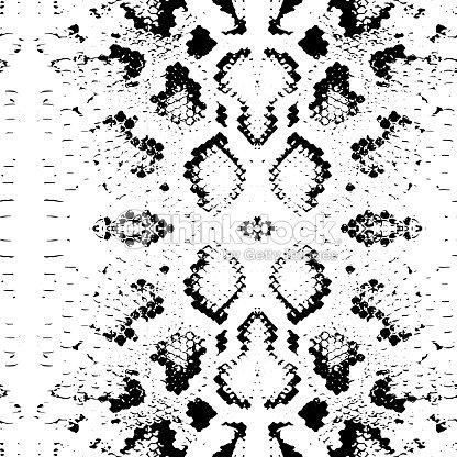 Seamless Pattern Snake Skin Texture Black On White