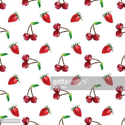 Seamless pattern strawberry and cherry. Polygon fruit. Vector : Vector Art