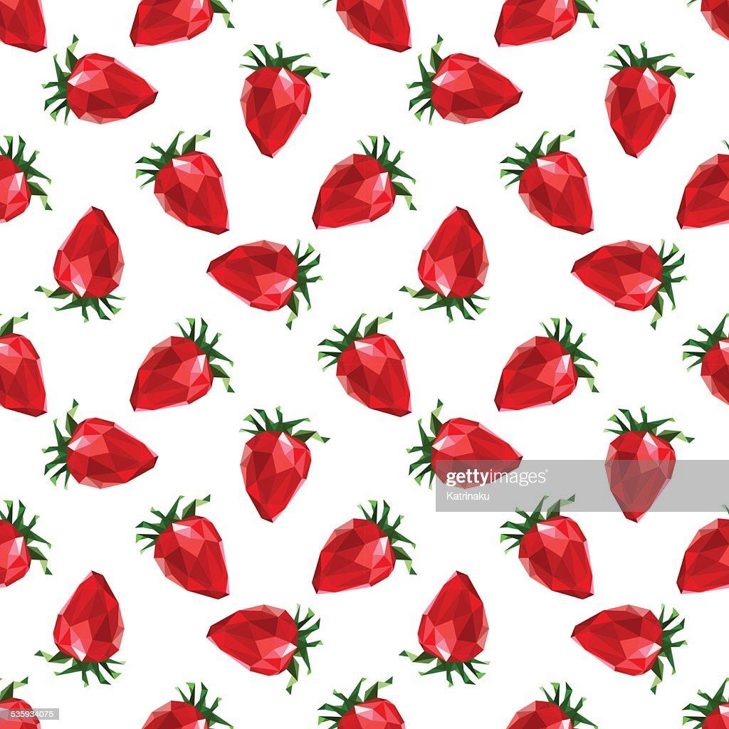 Seamless pattern strawberry. Polygon fruit. Vector : Vector Art