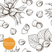 Seamless pattern with linear outline hazelnut. Pattern with sketches of nuts in vintage style. stock vector