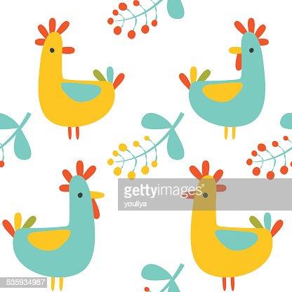 Seamless pattern: vector illustartion of retro colored birds : Vector Art