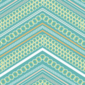 Seamless pattern vector Stylish Modern pastel polka dots pattern mix and geometric modern zig zag line for fashion,scarf ,fabric and all prints on green mint background color
