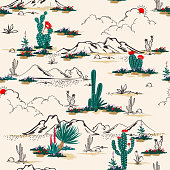 Seamless pattern vector summer cactus on desert mix with beautiful blooming succulents flower for fashion fabric and all prints on light beige sand background.