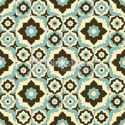 Seamless Pattern Vintage Ceramic Tile Design With Fl Ornate Vector Art