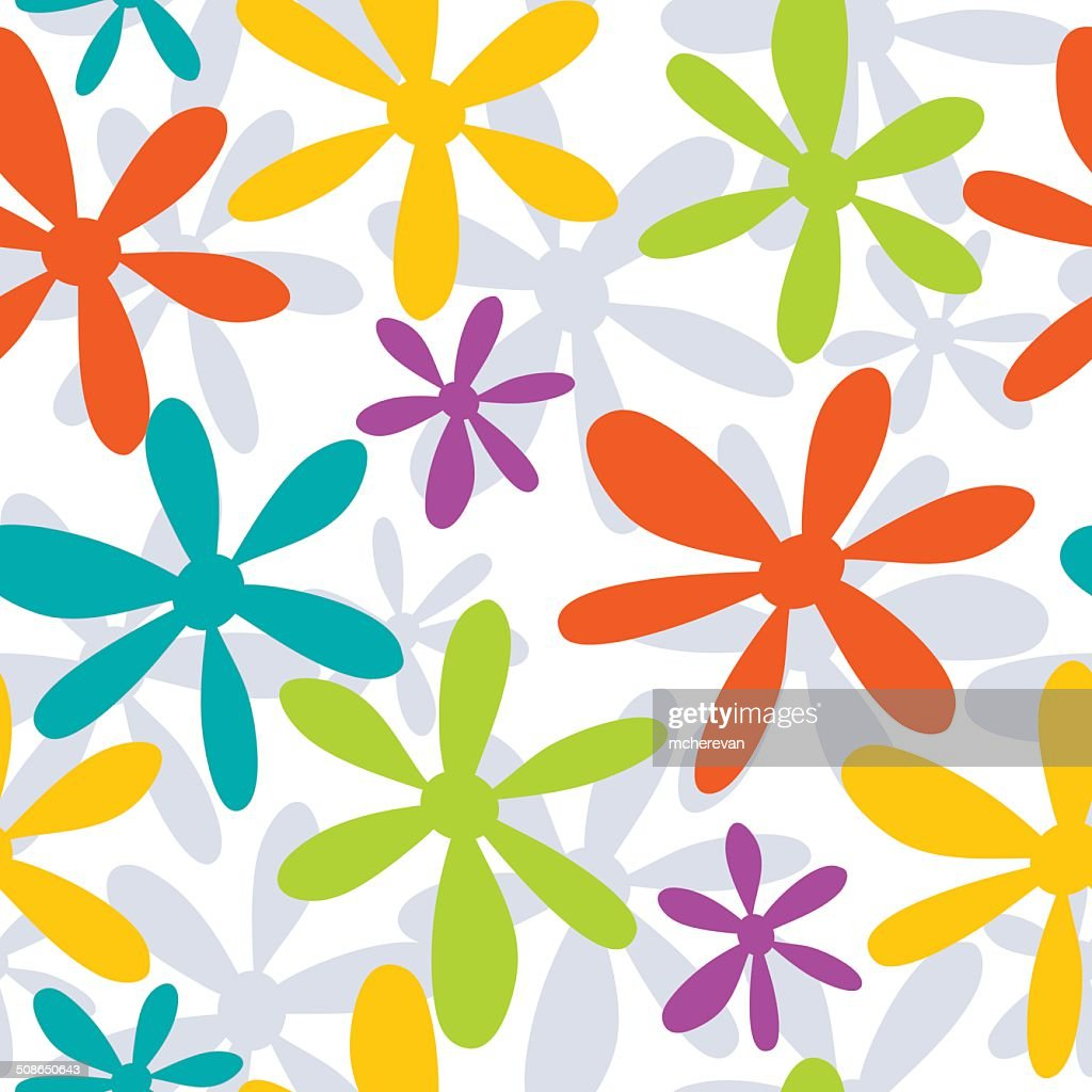 Seamless pattern with abstract hand drawn flowers : Vector Art