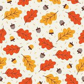 Seamless pattern with acorns and autumn oak leaves in Orange, Beige, Brown and Yellow. Perfect for wallpaper, gift paper, pattern fills, web page background, autumn greeting cards.