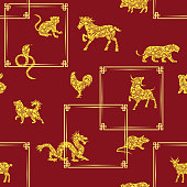Seamless pattern with all 12 zodiac animals for Chinese New Year design. Vector illustration in paper cut style.