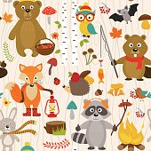 seamless pattern with animals of forest on beige background- vector illustration, eps
