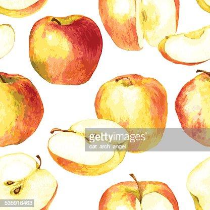 Sem costura padrão com maçãs desenho de Aguarela : Arte vetorial
