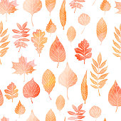 Seamless pattern with autumn leaves drawing by watercolor, hand drawn elements. Vector illustration