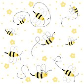 Seamless pattern with bees