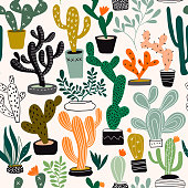 Seamless pattern with cacti and tropical plants, hand drawn elements