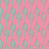 Seamless pattern with cactus and succulent in sketch style. Editable vector illustration