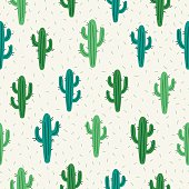 Seamless pattern with cactus on white background. Perfect for Mexican decorations, wallpaper, gift paper, textile, web page background. Vector illustration