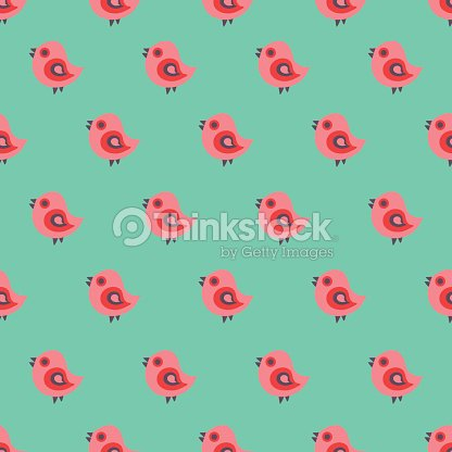 Seamless pattern with cartoon birds.