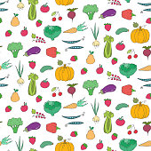 Seamless pattern with cartoon fruits and vegetables. Vector illustration.