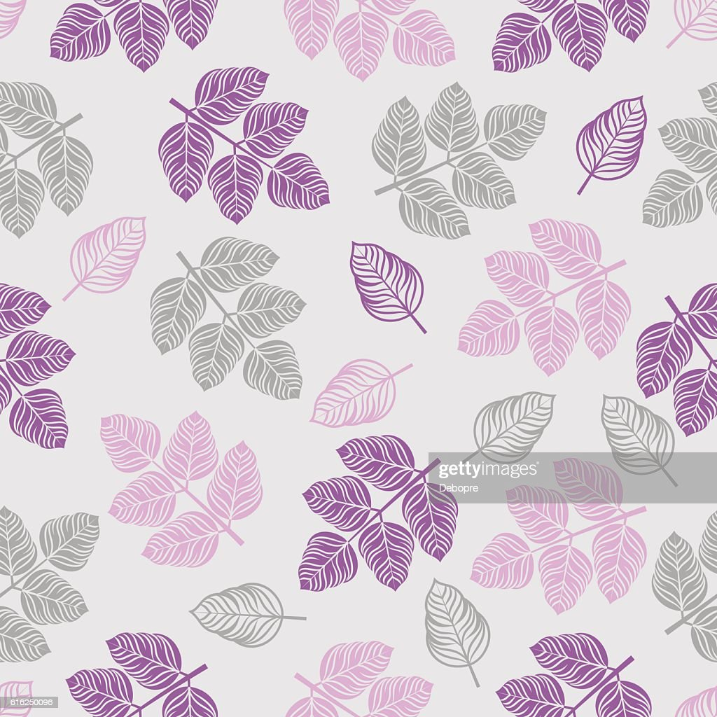Seamless pattern with colored leaves. : Vector Art