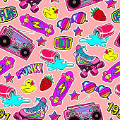 Seamless pattern with colorful elements: skateboard, cap, sunglasses, boombox, rubber duck, vintage roller blades, etc. Background with patches, badges, pins, stickers in 80s comic style
