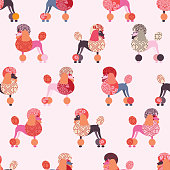 Seamless pattern with colorful poodle. Vector design for wallpaper, fabric, wrapping paper.